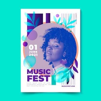 Cartel del festival de música mujer con los ojos cerrados