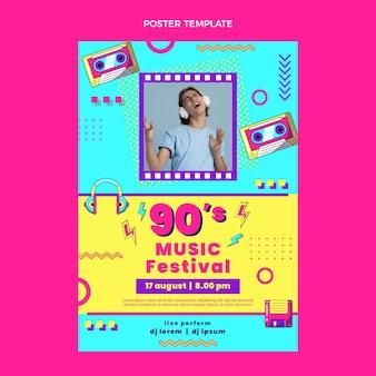 Cartel de festival de música nostálgica de diseño plano