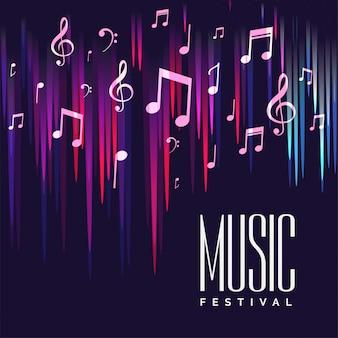 Cartel del festival de música con notas coloridas.