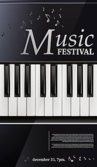 Cartel del festival de música piano con teclado en blanco y negro.