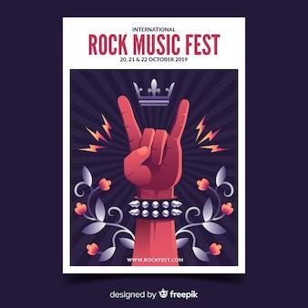 Cartel del festival de música rock con ilustración de degradado
