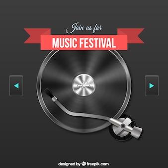 Cartel de festival de música con un tocadiscos