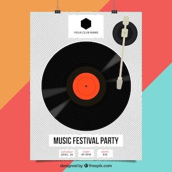 Cartel de festival de música con vinilo