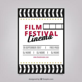 Cartel de festival de película en diseño retro