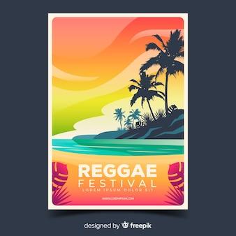 Cartel del festival de reggae con ilustración de degradado
