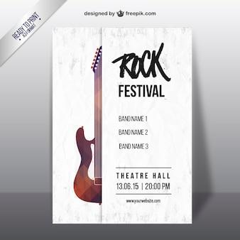 Cartel del festival de rock con una guitarra geométrica