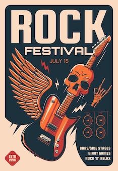 Cartel del festival de rock de música pesada.
