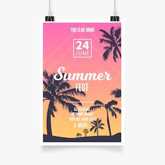 Cartel del festival tropical de verano
