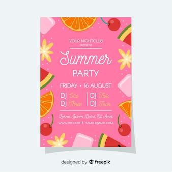 Cartel de festival de verano marco de frutas.