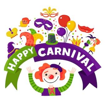Cartel festivo de la composición de la celebración del carnaval