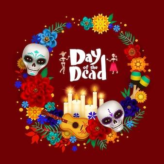 Cartel festivo del día de muertos con calaveras de azúcar