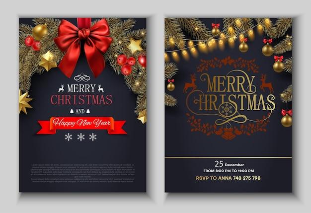 Cartel festivo de feliz navidad o tarjeta de invitación con adornos navideños conjunto de plantillas