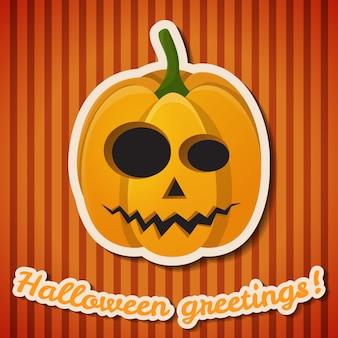 Cartel festivo de la fiesta de halloween con inscripción en papel y calabaza malvada y aterradora sobre fondo de rayas naranja