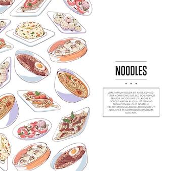 Cartel de fideos chinos con platos asiáticos