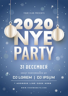 Cartel de la fiesta 2020 con adornos de papel colgado y detalles del evento en nevadas azules bokeh.
