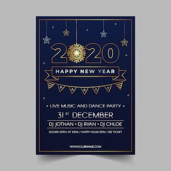 Cartel de fiesta de año nuevo 2020 en estilo de contorno