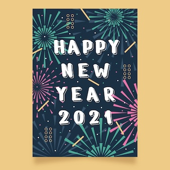 Cartel de fiesta de año nuevo 2021 dibujado a mano