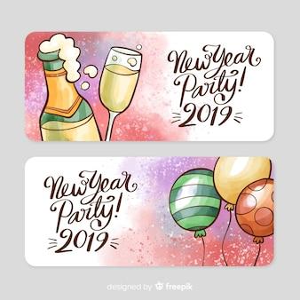 Cartel de fiesta de año nuevo en acuarela