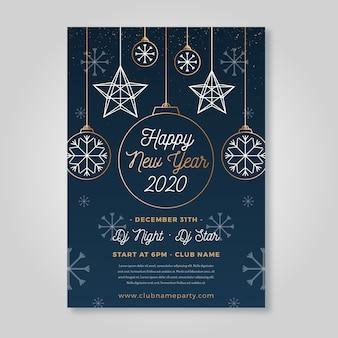 Cartel de fiesta de año nuevo en plantilla de estilo de contorno