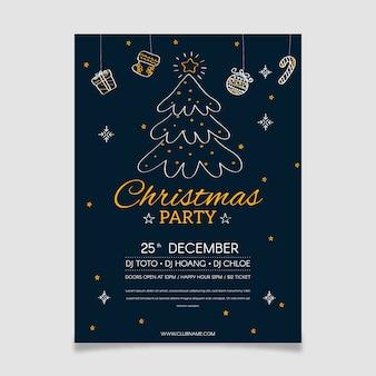 Cartel de fiesta de árbol de navidad en estilo de contorno