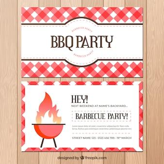 Cartel de la fiesta de barbacoa en diseño plano
