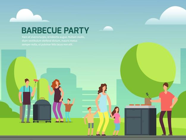 Cartel de fiesta de barbacoa. familias de personajes de dibujos animados en el parque