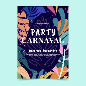 Cartel de fiesta de carnaval brasileño dibujado a mano