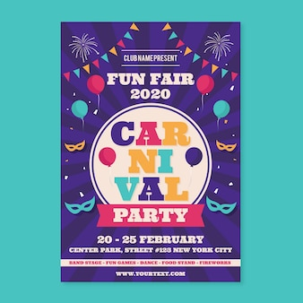 Cartel de fiesta de carnaval en diseño plano
