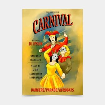 Cartel de fiesta de carnaval de personas vintage con máscaras