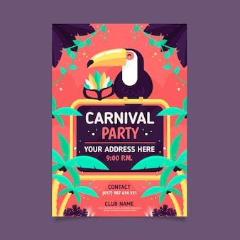 Cartel de fiesta de carnaval plano colorido