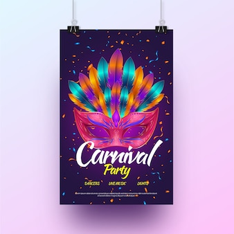 Cartel de fiesta de carnaval realista vector gratuito
