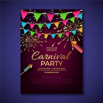 Cartel de fiesta de carnaval realista