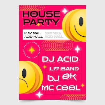 Cartel de fiesta de casa de emoji ácido realista