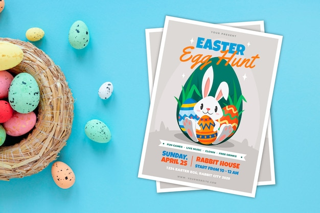 Cartel de fiesta de caza de huevos de pascua con cesta