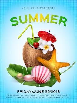 Cartel de fiesta de cóctel de vector tropical club de verano
