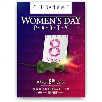 Cartel para fiesta del día de la mujer con rosa y calendario.