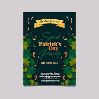Cartel de la fiesta del día de san patricio o plantilla de volante con cinta y tréboles