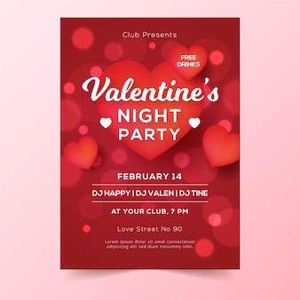 Cartel de fiesta de día de san valentín borrosa