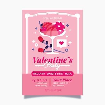 Cartel de fiesta de día de san valentín de diseño plano