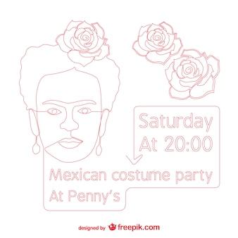 Cartel de fiesta de disfraces mexicana