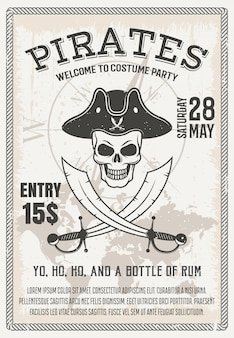 Cartel de fiesta de disfraces de piratas con cráneo sonriente cruzado sables en el mapa mundial y la brújula, ilustración vectorial