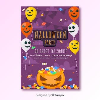 Cartel de fiesta feliz halloween con globos