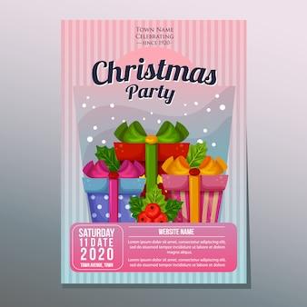 Cartel de fiesta de fiesta de navidad o plantilla de volante con cajas de regalo