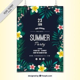 Cartel de fiesta de flores con hojas pintadas a mano
