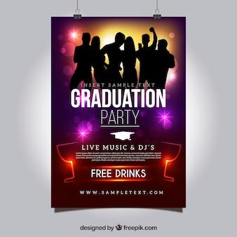 Cartel de fiesta de graduación de colores con siluetas bailando