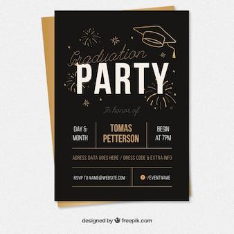 Cartel de fiesta de graduación negro con elementos dorados