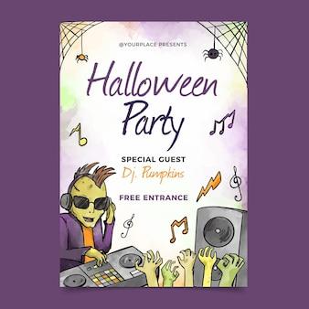 Cartel de fiesta de halloween acuarela