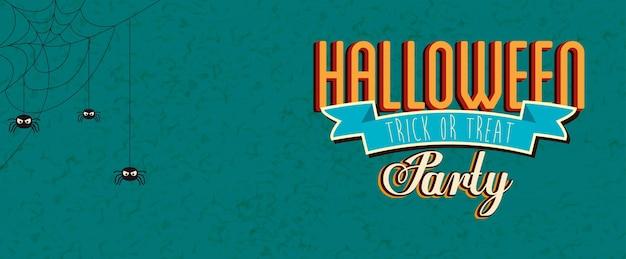Cartel de fiesta de halloween con arañas