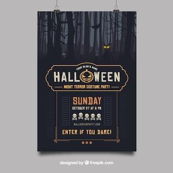 Cartel de fiesta de halloween con bosque tenebroso
