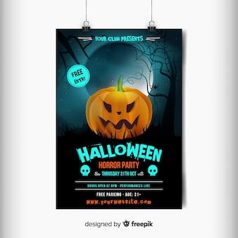 Cartel de fiesta de halloween de calabaza enojada naranja tallada